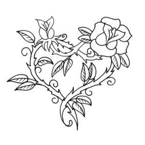 tatuaje de corazones para colorear en Con Tatuajes.