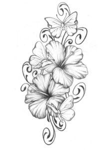 Dibujo con tatuaje de flores-campanilla en Con Tatuajes