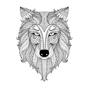 Imágen tatuaje lobo para colorear en Con Tatuajes